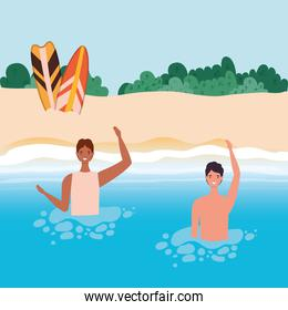 boys cartoons with swimsuit in the sea in front of the beach with shrubs vector design