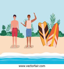 boys cartoons with swimsuit at the beach with surfboards vector design