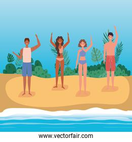 Girls and boys cartoons with swimsuit at the beach with shrubs, vector design