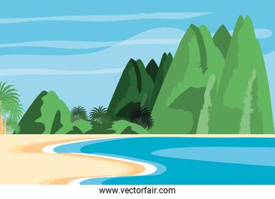 summer beach landscape with mountains
