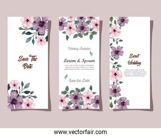 greeting cards with flowers pink and lilac color, wedding invitations with flowers with branches and leaves decoration