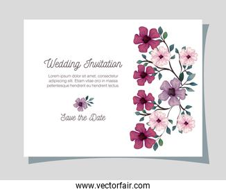 greeting card with flowers lilac, pink and purple color, wedding invitation with flowers with branches and leaves decoration