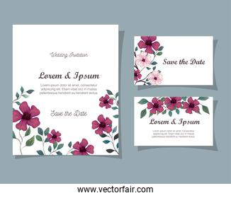 greeting cards with flowers purple and pink color, wedding invitations with flowers with branches and leaves decoration