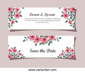 greeting cards with flowers pink color, wedding invitations with flowers pink color with branches and leaves decoration