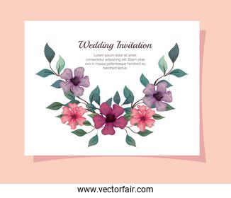 greeting card with flowers pink, purple and lilac color, wedding invitation with flowers with branches and leaves decoration