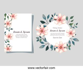 greeting cards with flowers, wedding invitations with flowers with branches and leaves decoration