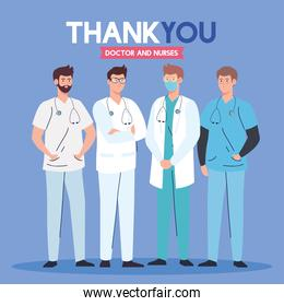 thank you doctor and nurses working in hospitals, team men doctor fighting the coronavirus covid 19