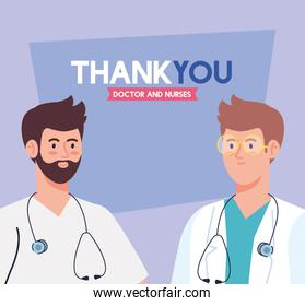 thank you doctor and nurses working in hospitals, doctor men fighting the coronavirus covid 19