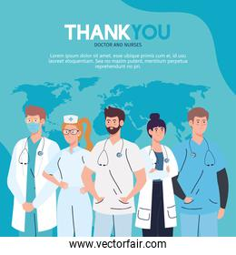 thank you doctor and nurses working in hospitals, staff medical fighting the coronavirus covid 19