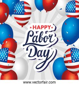 happy labor day holiday banner with balloons helium decoration