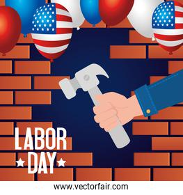 happy labor day holiday banner and hand with hammer tool
