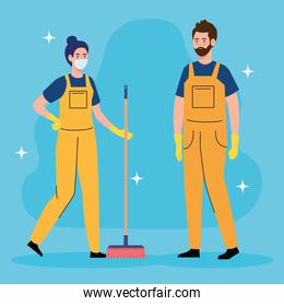 couple workers of cleaning service, with broom