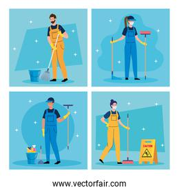 set scenes of cleaning service, workers of cleaning service with equipments