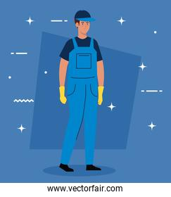 man worker of cleaning service, on blue background