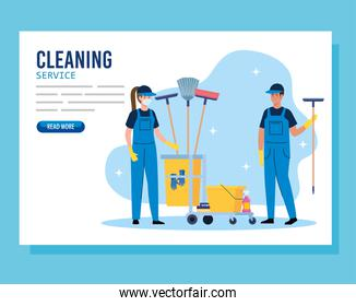 cleaning service banner, couple workers with cleaning trolley with equipment icons