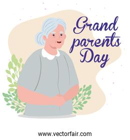 happy grand parents day with cute grandmother and leaves decoration