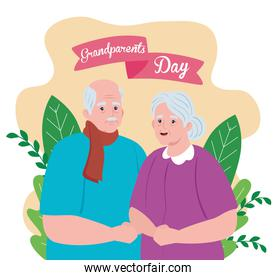 happy grand parents day with cute older couple and leaves decoration