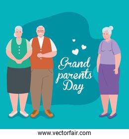 happy grand parents day with cute old people