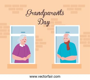 happy grand parents day with cute older couple watching by the window