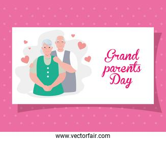 happy grand parents day with cute older couple and hearts decoration