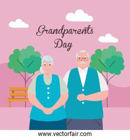 happy grand parents day with cute older couple in the park