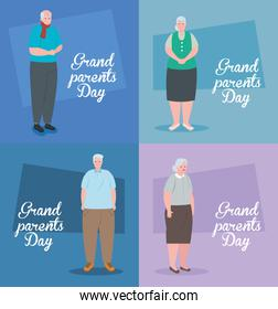 set cards of happy grand parents day with cute old people