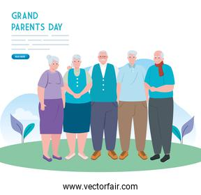 banner of happy grand parents day with old people outdoor