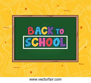 back to school banner with chalkboard
