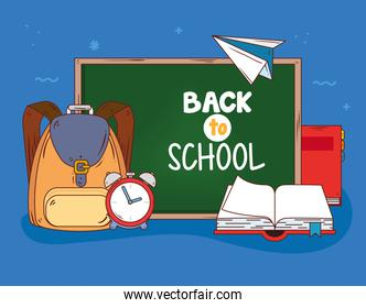 back to school banner with chalkboard and supplies education
