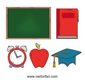 education concept, chalkboard with education icons