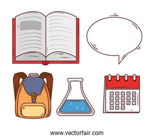 education concept, open book with education icons