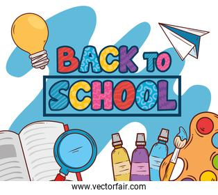 back to school banner with supplies education