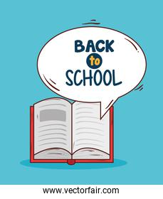 back to school banner with open book