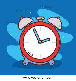 alarm clock red color, wake up time