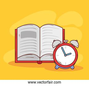 alarm clock red color with book open