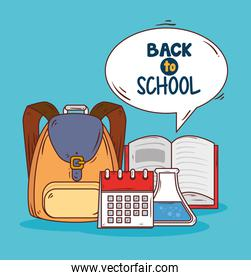 back to school banner with school bag and supplies education