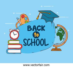 back to school banner with hat graduation and education icons