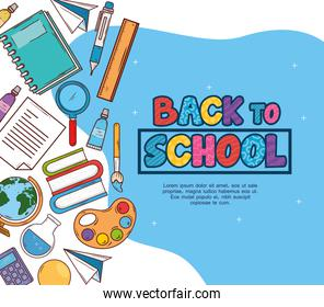 back to school banner with education icons