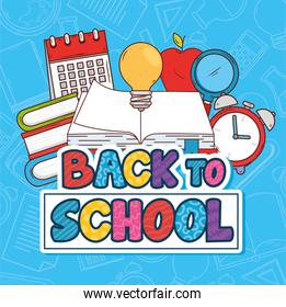 back to school banner with open book and education icons