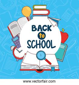 back to school banner with open book and icons education