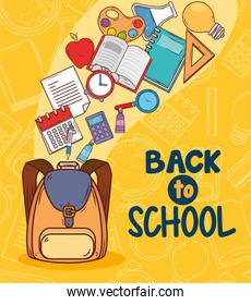 back to school banner with school bag and education icons