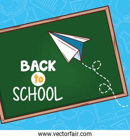 back to school banner with chalkboard and paper airplane