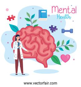 mental health medical treatment, doctor female with brain and health icons