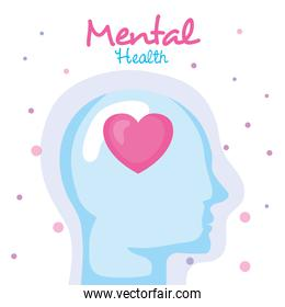mental health concept, and human profile with heart