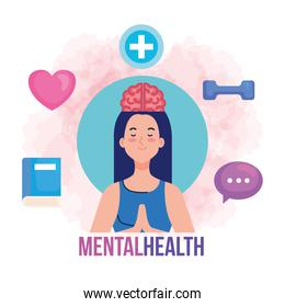 mental health concept, and woman meditating with health icons