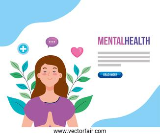 banner of mental health, and woman meditating with health icons