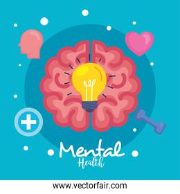 mental health concept, and brain with health icons