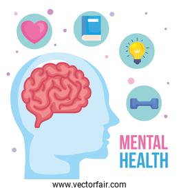 mental health concept, and human profile with health designs