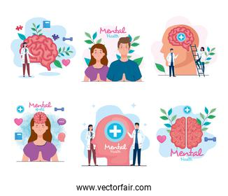 set banners of mental health with icons