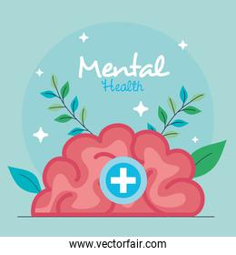 mental health concept, with brain human